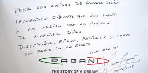 Dedicatoria del diseñador Horacio Pagani al equipo cordobés