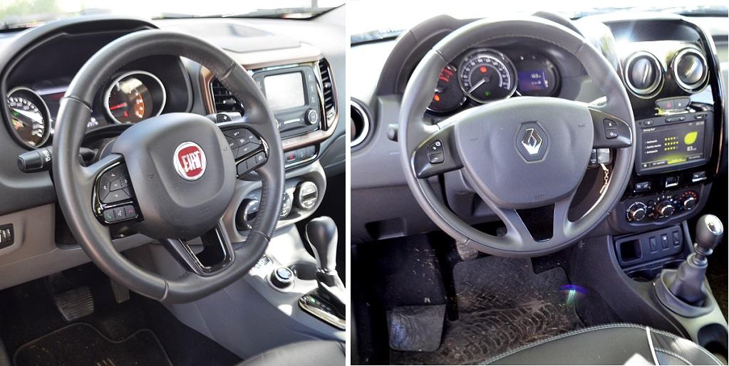 Interior Fiat Toro (izq.) Duster Oroch (der.)